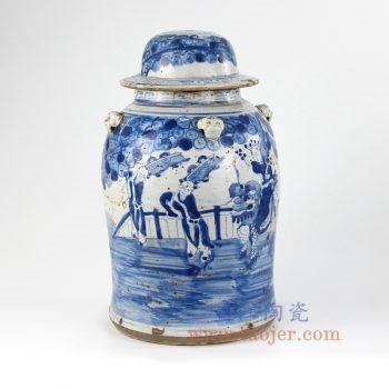 DS-RZEY15-景德镇陶瓷 纯手工 青花仿古做旧 人物 陶瓷罐