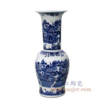 RYLU148_景德镇陶瓷 纯手绘 青花 山水建筑 花插花瓶