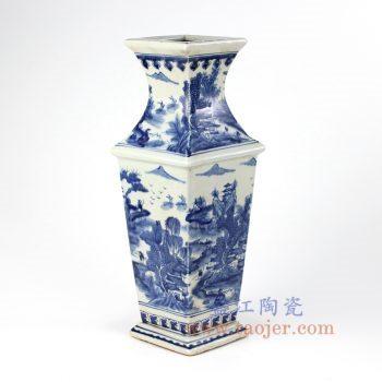 RYUK26-B_景德镇陶瓷 纯手绘 青花 仿古 山水建筑 四方花插 花瓶