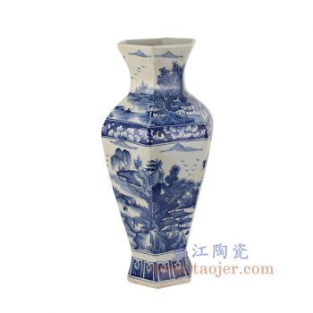 RYUK28_景德镇陶瓷 纯手绘 青花 仿古 山水六方 花插花瓶