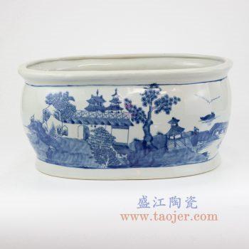 RYVM33_景德镇陶瓷 纯手绘 青花 仿古 山水建筑 花盆