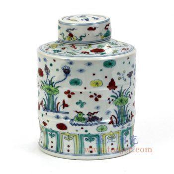 RYWR02_景德镇陶瓷 纯手工 粉彩 荷花 陶瓷罐 盖罐 储物罐
