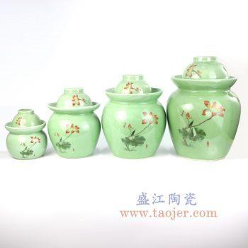 RYXM02_景德镇陶瓷 影青釉上荷花  米缸 储物罐