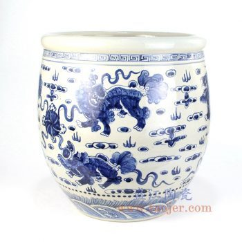 RZFH11_景德镇陶瓷 纯手工 青花仿古 双狮抱球 水缸 鱼缸
