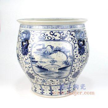 RZFH12_景德镇陶瓷 纯手工 青花仿古 山水缠枝莲狮子头 水缸鱼缸