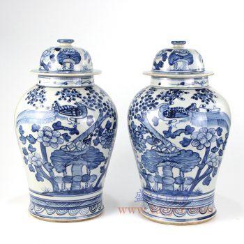 RZFI05-D-景德镇陶瓷 纯手绘青花仿古 花鸟将军罐 盖罐 储物罐