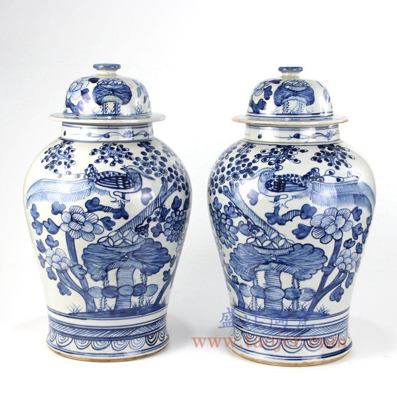 盛江陶瓷 纯手绘青花仿古 花鸟将军罐 盖罐 储物罐