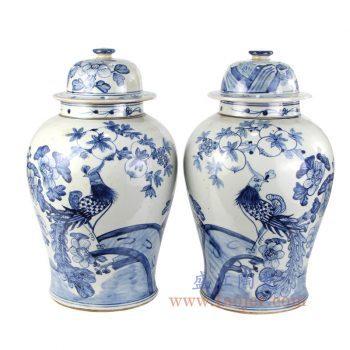 RZFI05-E-景德镇陶瓷 纯手绘青花仿古 花鸟孔雀将军罐 盖罐 储物罐