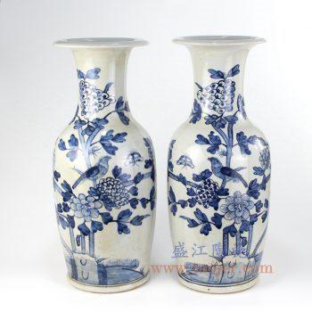 RZFI08_景德镇陶瓷 纯手绘青花仿古 花鸟 花插花瓶