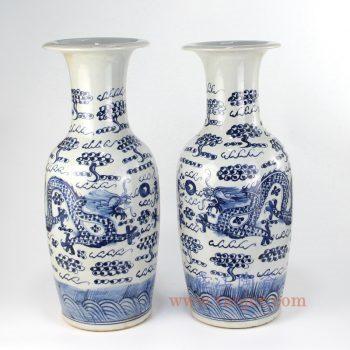 RZFI09_景德镇陶瓷 纯手绘青花仿古 龙纹 花插花瓶