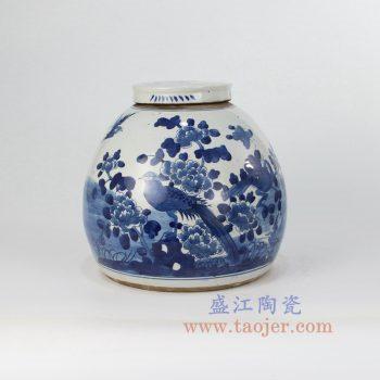 RZFZ07-a-OLD-_景德镇陶瓷 纯手绘 青花仿古 花鸟牡丹 盖罐储物罐