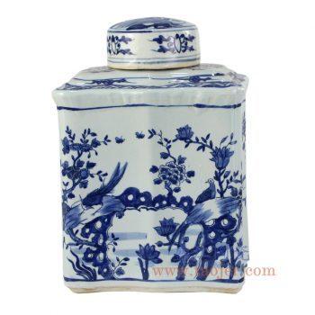 RZKJ02_景德镇陶瓷 纯手绘 青花仿古 花鸟 四方盖罐 储物罐