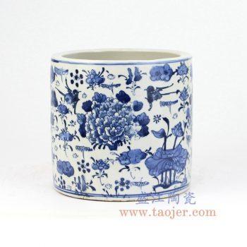 RZKT03-D_景德镇陶瓷 纯手绘 青花仿古 牡丹花鸟 笔筒
