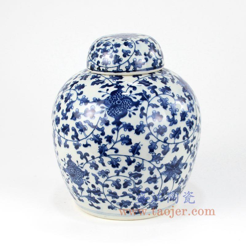 盛江陶瓷 纯手绘青花仿古 缠枝莲 盖罐 储物罐