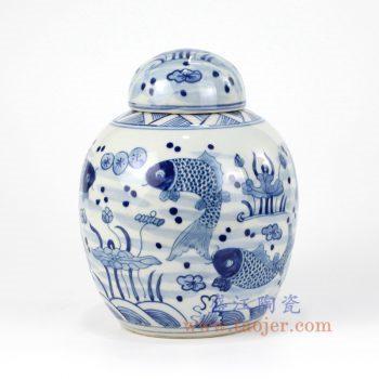 RZKY13-A_景德镇陶瓷 纯手绘青花仿古 鱼草图 盖罐 储物罐