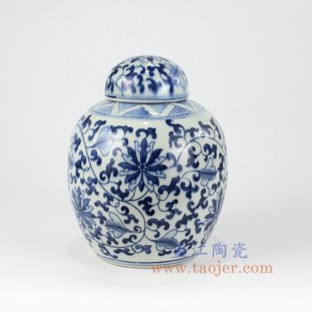 RZKY13-C_景德镇陶瓷 纯手工 青花仿古 缠枝莲 盖罐 储物罐