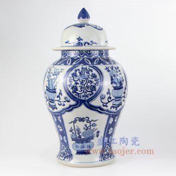 RZKY14-A_景德镇陶瓷 纯手绘 青花仿古 花卉 缠枝莲将军罐 盖罐 储物罐