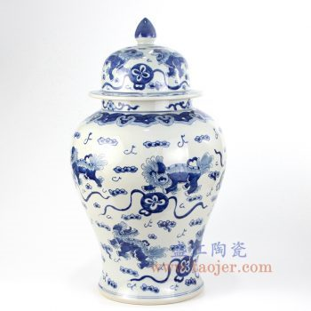 RZKY14-B_景德镇陶瓷 纯手绘 青花仿古 双狮抱球 将军罐 盖罐 储物罐