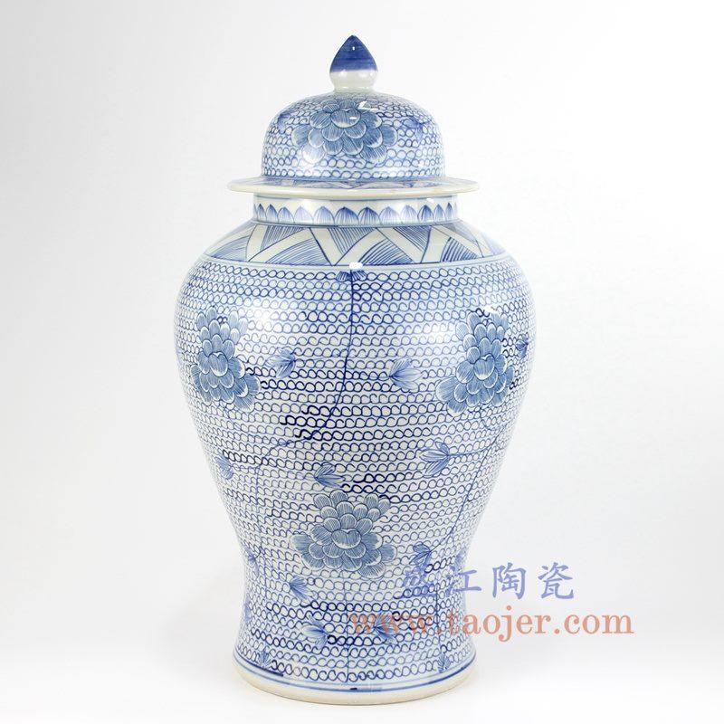 盛江陶瓷 纯手绘 青花仿古 缠枝莲 花卉将军罐 盖罐 储物罐