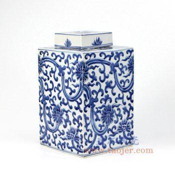 RZKY15_景德镇陶瓷 纯手绘 青花仿古 缠枝莲 四方盖罐 储物罐
