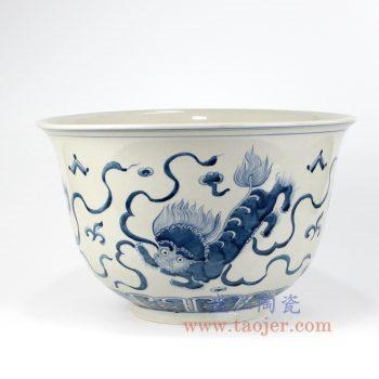 RZKY16_景德镇陶瓷 纯手绘 青花仿古 狮子纹 花盆