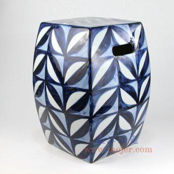 RZKL17-A_景德镇陶瓷 纯手绘青花几何图案 四方凉墩换鞋凳