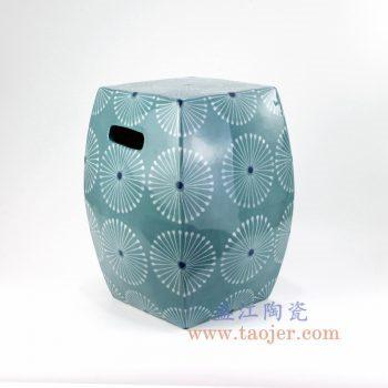 RZKL17-b-景德镇陶瓷 纯手绘 几何图案 四方凉墩 换鞋凳
