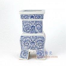 盛江陶瓷 仿清 纯手绘 青花 缠枝莲 香炉油灯烛台
