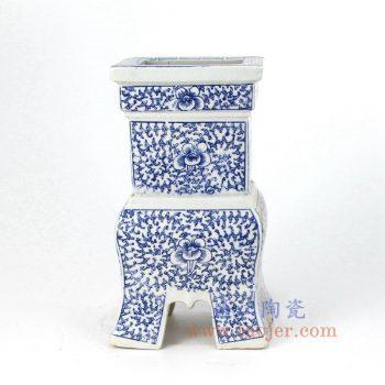 RZMI02_景德镇陶瓷 仿清  纯手绘 青花 缠枝莲 香炉油灯烛台