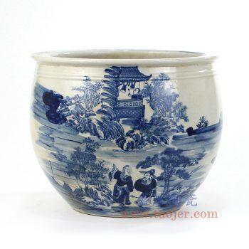 RZMW01 景德镇陶瓷 仿古 纯手绘青花 山水人物 水缸鱼缸