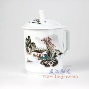 RZIC02-B-景德镇陶瓷 粉彩 高白玉瓷杯 老板杯 办公杯