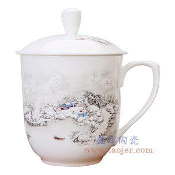 RZKX16-B-景德镇陶瓷 雪景白玉瓷老板杯办公杯水杯霸王杯