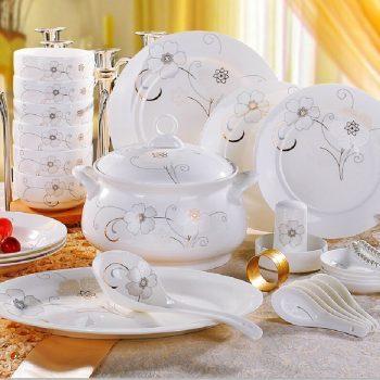 CJ57景德镇陶瓷礼品厂家直销56头骨瓷餐具套装陶瓷餐具碗盘碟套装雪莲