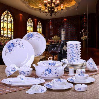 mj-06景德镇56头骨瓷餐具套装韩式高档陶瓷器碗碟套装陶瓷碗具铃兰花