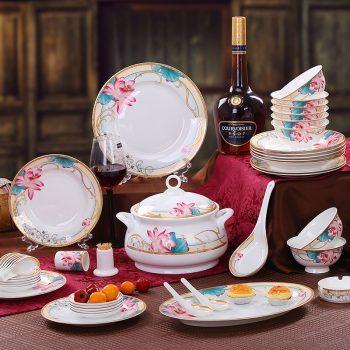 mj-09景德镇陶瓷56餐具套装家用简约骨瓷碗盘碗碟套装结婚乔迁 醉凡尘