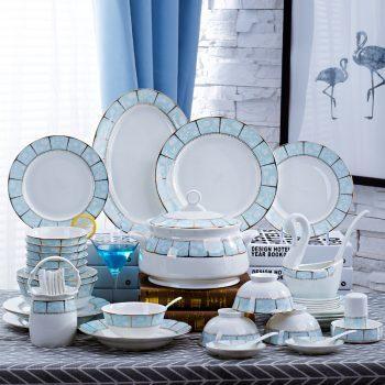 mj-10景德镇陶瓷碗碟套装家用中式简约骨瓷碗盘碗具韩式清新餐具小时代