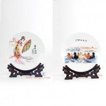 盛江陶瓷 纯手工釉上彩10寸摆盘 挂盘