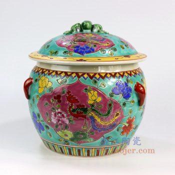 RYZG11-C_景德镇陶瓷 纯手绘 古彩四系罐 花鸟陶瓷罐 盖罐