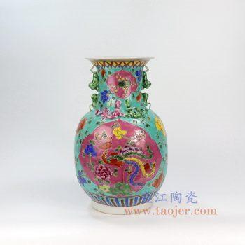 RYZG12-B_景德镇陶瓷 仿清绿地手绘粉彩凤凰牡丹纹狮耳瓶瓷器古董古玩