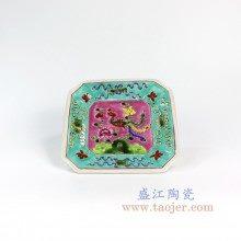 盛江陶瓷 仿清绿地手绘粉彩摆盘 挂盘古董古玩