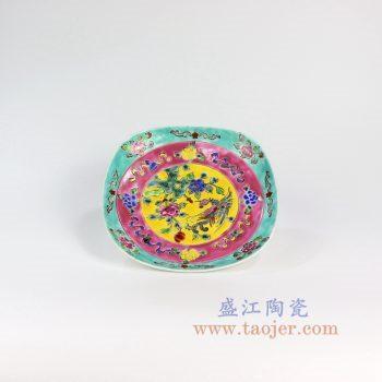 RYZG16-景德镇陶瓷 仿清绿地手绘粉彩瓷盘摆盘 挂盘古董古玩