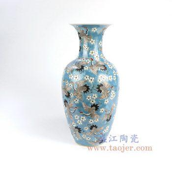 RZFA03_景德镇陶瓷 仿古瓷器纯手绘粉彩瓷器百鹤祥云纹花插花瓶