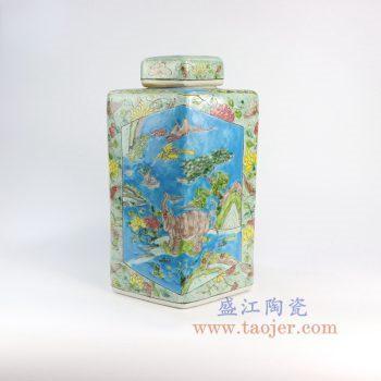 RZFA06-a-景德镇陶瓷 仿古 纯手绘 神兽图四方陶瓷罐 盖罐 储物罐