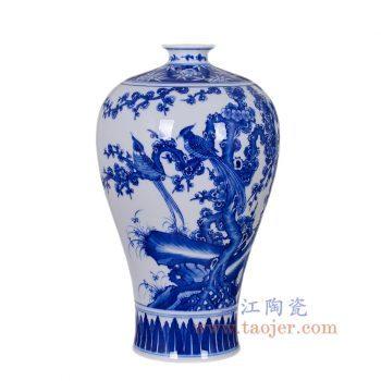 RZNQ03-B-景德镇陶瓷 仿古康熙青花百鸟花瓶家居装饰梅瓶工艺客厅摆件