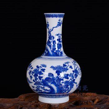 RZLH07-景德镇陶瓷 仿古手绘青花花鸟赏瓶  中式客厅家居书房