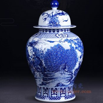 RZNQ09-景德镇陶瓷 仿古手绘青花锦上添花 富贵满堂孔雀 将军罐 摆件