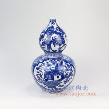 RZLH11-景德镇陶瓷 仿古手绘青花荷花葫芦瓶瓶 中式客厅