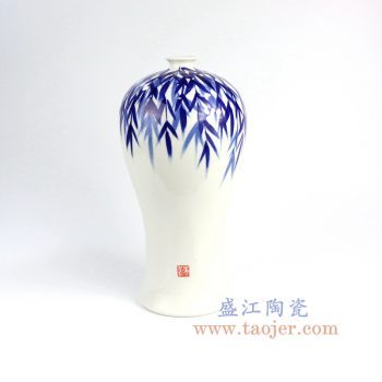 RZNG02_景德镇陶瓷 纯手绘 青花 竹叶梅瓶 花插花瓶 家居摆件