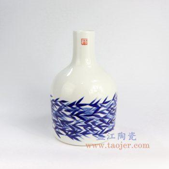 RZNG04_景德镇陶瓷纯手绘 青花 竹叶 花插花瓶 家居摆件