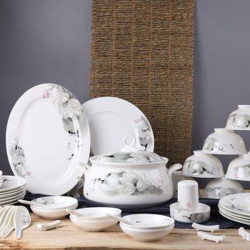 MJ-56景德镇陶瓷 56头餐具碗碟套装 家用中式国色荷香